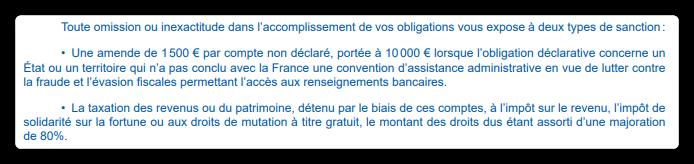 Sanction de toute omission ou inexactitude de la déclaration de compte à l'étranger