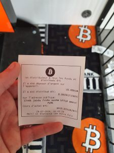 Ticket de rendu ATM Bitcoin