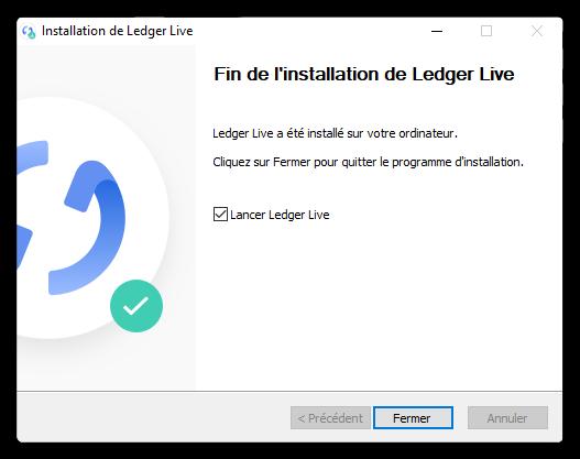 Fin de l'installation Ledger Live