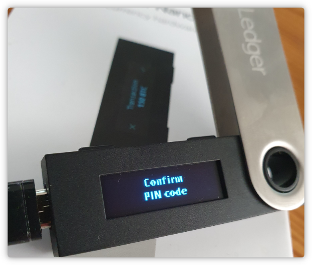 Confirmation PIN code Ledger