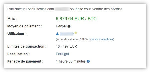 Paiement transactoin LocalBitcoins